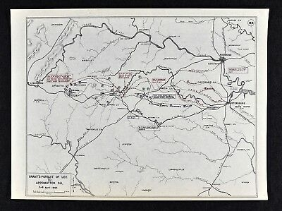 West Point Civil War Map Grants Pursuit of Lee to Appomattox Courthouse Virginia