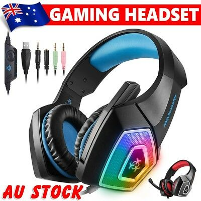 Gaming Headset MIC LED Headphones Surround for PC Laptop Mac PS4 Xbox One 3.5mm
