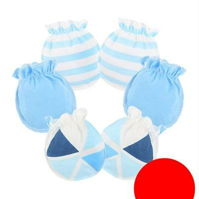 Baby Mittens Girls Boys 3 Pairs Anti Scratch Mitts Newborn Toddler Cotton LC