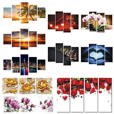 5Pcs Set Canvas Oil Painting Print Poster Wall Hanging Multiple Pictures Decor