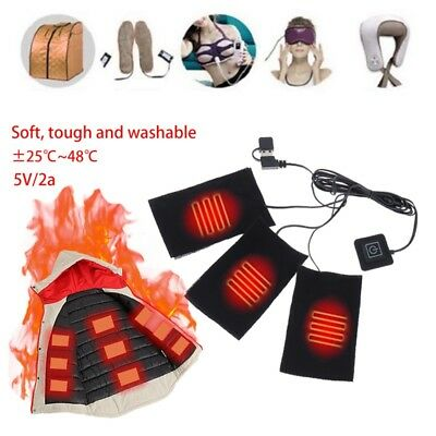 1/2/3/5/6/8Pcs USB Heating Pad Thermal Vest Heated Jacket Electric Cloth Heater