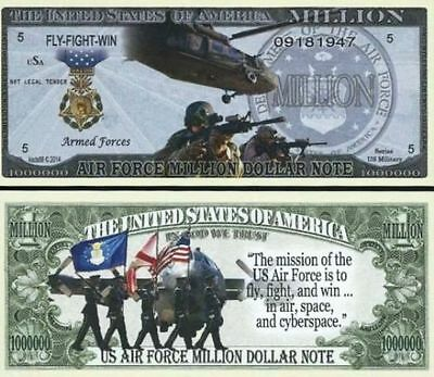 2 Sleeved U.S. AIR FORCE Million Dollar Novelty Bill FLY FIGHT WIN + Bonus USA