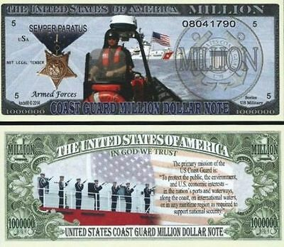 U.S COAST GUARD Million Dollar Novelty Bill SEMPER PARATUS + Bonus USA SELLER