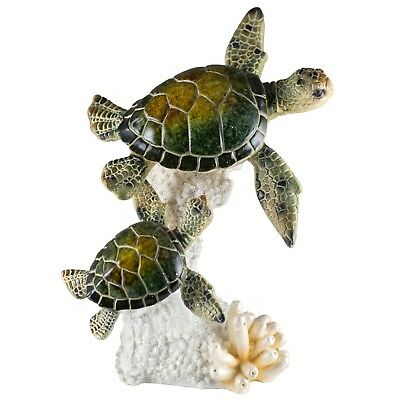 "Green Sea Turtle Mother and Baby Figurine 7"" High Glossy Finish Resin New!"