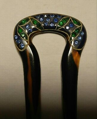 Antique Art Deco Hair Comb Pick Faux Tortoise Shell Celluloid with Crystals