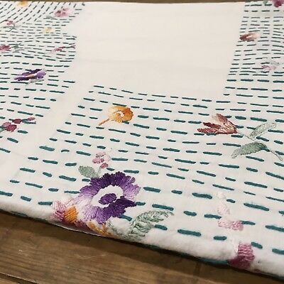 "VINTAGE Hand Embroidered White  Linen Floral Flowers TABLECLOTH 64""x 44"""