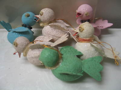 6 Vintage Mica Glitter Paper Mache' Bird Christmas Ornaments.