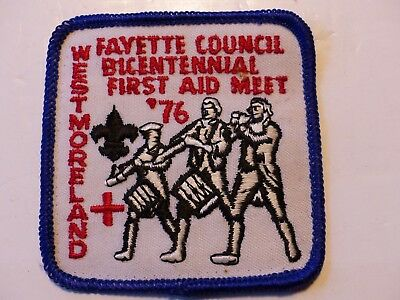 Used 1976 First Aid Meet Westmoreland Fayette Council Penna. Boy Scout Patch BSA