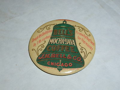 Vintage Advertising Pocket Mirror  Celluloid Bell's Mocha Coffee  S-2315