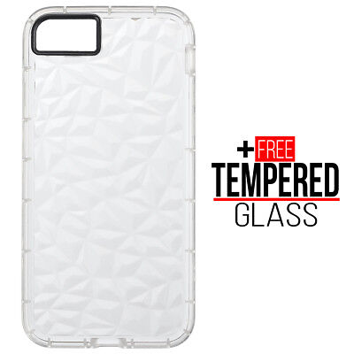 Pour iPhone 7 8 Diamond Pattern Cas Cover TPU Soft Silicone Gel Shockproof Blanc