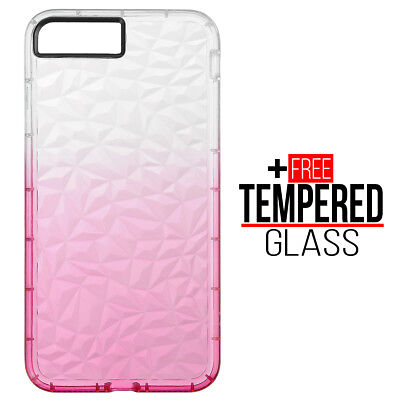 Pour iPhone 7 Plus 8 Plus Diamond Pattern Cas Cover Silicone Gel Shockproof Rose