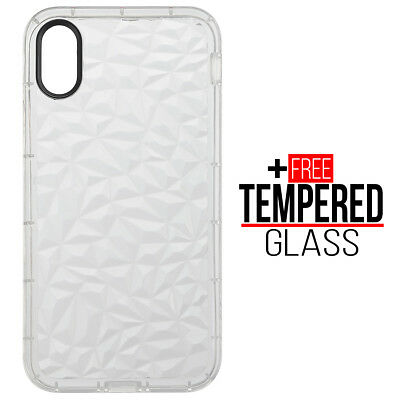Pour iPhone X XS Diamond Pattern Cas Cover Soft Silicone Gel Shockproof Blanc