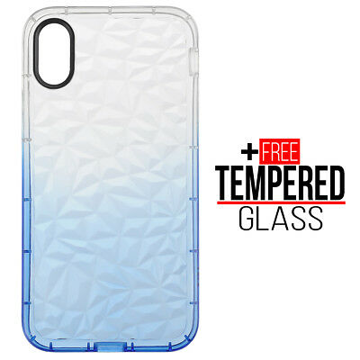 Pour iPhone X XS Diamond Pattern Cas Cover TPU Soft Silicone Gel Shockproof Bleu