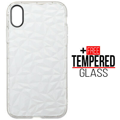 Pour iPhone XR Diamond Pattern Cas Cover TPU Soft Silicone Gel Shockproof Blanc