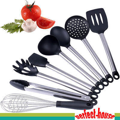 Kitchen Cooking Utensils Set 8 Pieces Stainless Steel Silicone Tools Gadgets US