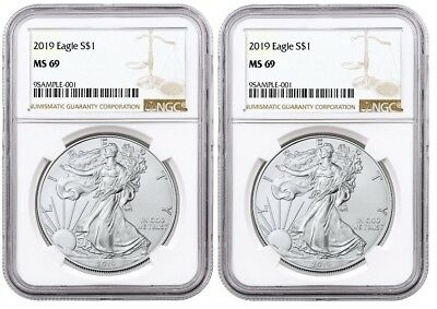 2019 1oz Silver Eagle NGC MS69 Brown Label 2 Pack - PRESALE
