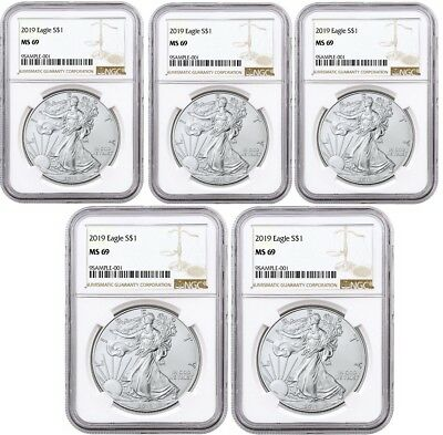 2019 1oz Silver Eagle NGC MS69 Brown Label 5 Pack - PRESALE