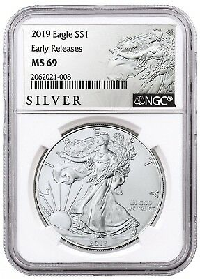 2019 1oz Silver American Eagle NGC MS69 - ER - ALS Label - White Core