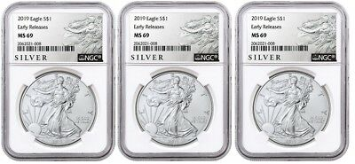 2019 1oz Silver Eagle NGC MS69 - ER - ALS Label - White Core - 3 Pack