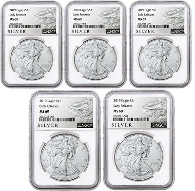2019 1oz Silver Eagle NGC MS69 - ER - ALS Label - White Core - 5 Pack