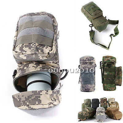 Molle Zipper Camo Water Bottle Utility Medic Pouch w Small Mess Pouch war game
