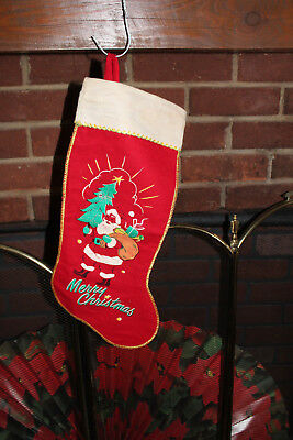 Vintage Great Felt Christmas Stocking Red And White Santa 1950s