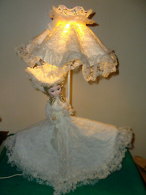 """Vintage Victorian Off White Laced Dress With Hat 26"""" Doll Lamp"""