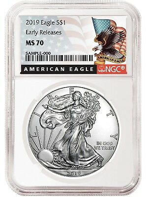 2019 1oz Silver American Eagle NGC MS70 - ER - Black Label - White Core