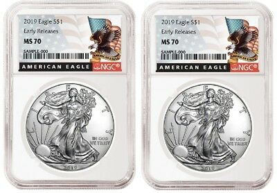 2019 1oz Silver Eagle NGC MS70 - ER - Black Label - White Core - 2 Pack