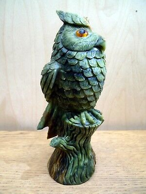 Beautiful Hand Carved Owl, a stunning large piece of colourful Jasper gemstone
