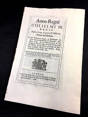 PARLIAMENT ACT 1695 William III Reign - England, Scotland, France and Ireland
