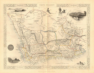 CAPE COLONY. Cape Town & Grahamstown views. South Africa.TALLIS/RAPKIN 1849 map