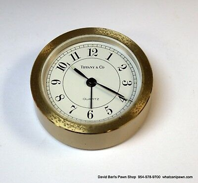 Vintage Tiffany & Co. Completely Round Small Brass Guartz Desk Clock with Alarm