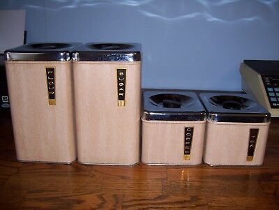 Vintage Lincoln Beauty Ware 4 Piece Canister Set Light Woodgrain.. Very Nice!
