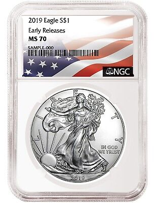 2019 1oz Silver American Eagle NGC MS70 - ER - Flag Label - White Core