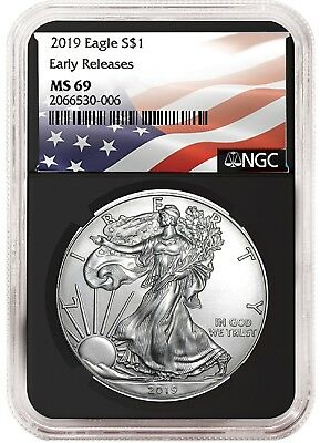 2019 1oz Silver American Eagle NGC MS69 - ER - Flag Label - Black Core