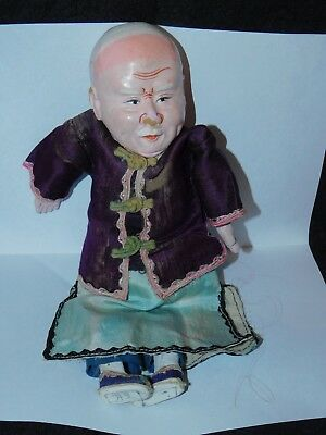 """VINTAGE CHINESE COMPOSITION 9 1/2"""" OLD MAN DOLL ornate with silk clothing"""