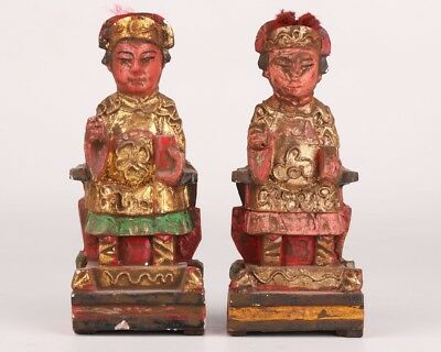 2 Rare Wood Gilt Hand-Carved Emperor Queen Statue Old Antique Collection