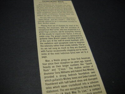 HAWKWIND and MAN at Academy Music in NYC 1974 music biz original show review
