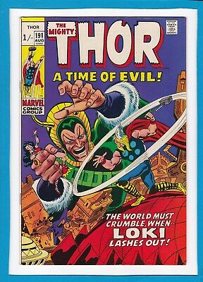 "Mighty Thor #191_August 1971_Very Fine+_Loki_""a Time Of Evil""_Bronze Age Uk!"