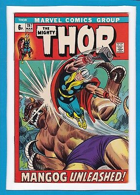 "Mighty Thor #197_March 1972_Very Fine_""mangog Unleashed""_Bronze Age Marvel_Uk!"
