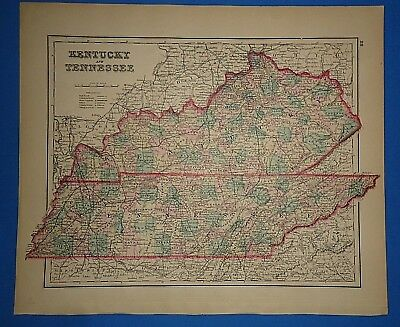 Vintage 1876 KENTUCKY - TENNESSEE MAP Old Antique Original OW GRAY Atlas Map