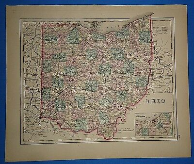 Vintage 1876 OHIO MAP Old Antique Original OW GRAY Atlas Map