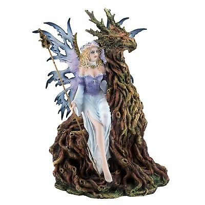 """Fairy With Gnarly Tree Dragon Figurine Statue 11"""" High Resin New In Box!"""
