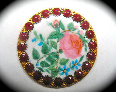 Antique Button ~ Stunning Large French Emaux Peints Enamel w Rose & Red Border