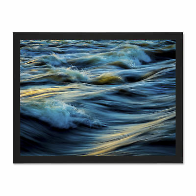 Seascape Blue Ocean Waves Large Framed Art Print Poster 18x24 Inches