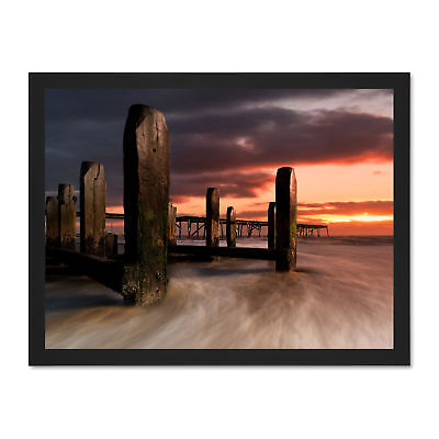 Photo Seascape Old Pier Beach Coast Sunset Framed Art Print Poster 18x24 Inches