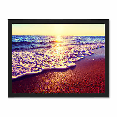 Photo Seascape Beach Sand Surf Waves Sunset Framed Art Print Poster 18x24 Inches