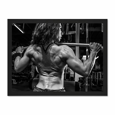 Photo Fitness Gym Woman Muscles Bodybuilder Strong Framed Art Print Poster