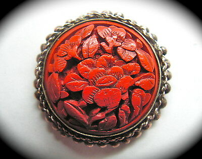 Antique Button ~ Beautiful Carved Chinese Cinnabar Lotus Flower in Silver